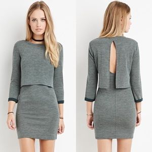 Forever 21 Grey Layered Vented Back Dress Size S